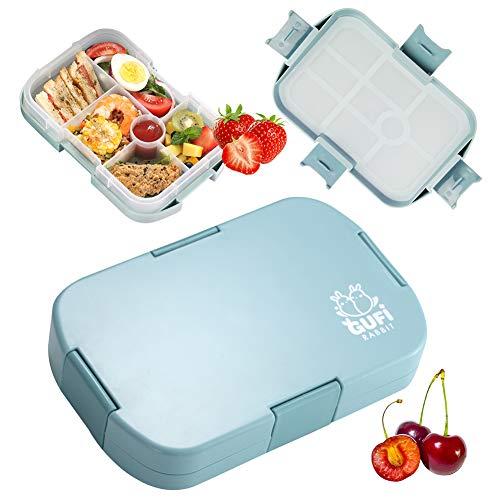 Bento Box, Fiambrera Niños, Lunchbox, Fiambrera Decorada, Caja de Almuerzo Portatil con 6 Compartimentos Fiambrera Hermetica BPA-Free No-Tóxico 960ML Caja de Almuerzo para Adultos y Niños (Azul)