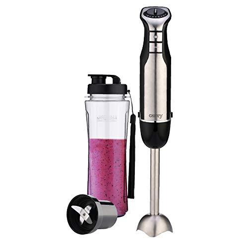 CAMRY CR 4615 Stabmixer, inkl. Trinkflasche mit Verschluss 500 ml, BPA frei, Smoothie Maker, 700 W, leiser Pürierstab für Smoothie, Suppe, Turbo-Taste, Klingen aus Edelstahl, silber/schwarz