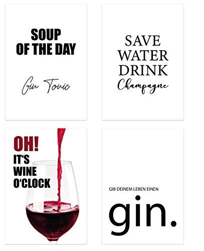 PICSonPAPER Poster 4er-Set Trinken, ungerahmt DIN A4, Soup of The Day Gin Tonic, Save Water, Drink Champagne etc, Poster, Dekoration, Wandbild, Geschenk, Getränke, Gin, Wein (Ungerahmt DIN A4)