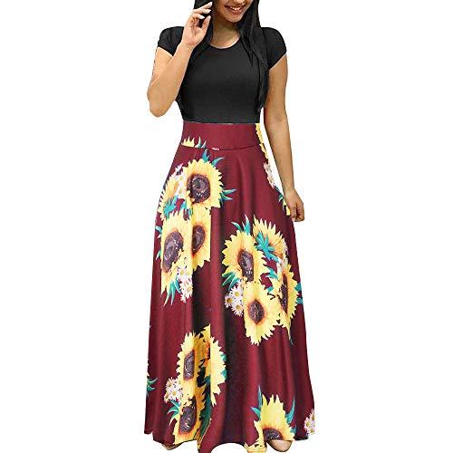 Zzbeans Vestido de verano para mujer, largo, estampado de girasol, túnica, elegante, de verano, de manga corta, estilo informal, Mujer, Vino, small