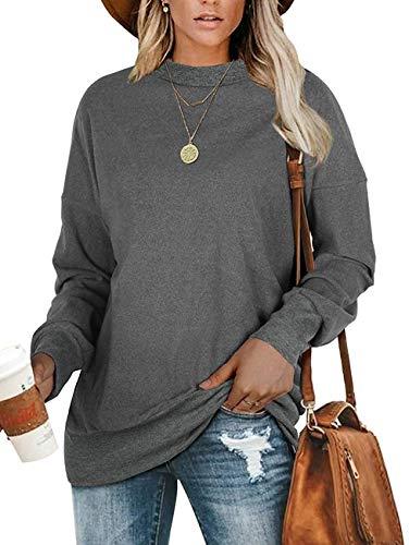 Limirror - Pullover da donna oversize grigio. L