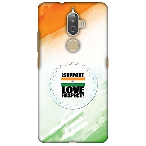 Amzer Slim Fit Handcrafted Designer Printed Snap On Hard Shell Case Back Cover with Screen Cleaning Kit Skin for Lenovo K8 Plus - I Support Love India HD Color, Ultra Light Back Case