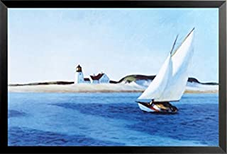 Buyartforless Work Framed The Long Leg by Edward Hopper 22x36 Art Print Poster Sailing Painting Seaside Ocean Lighthouse Sand Dunes, Blue