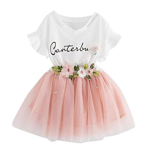 Niña vestido,Sonnena impresión tops blanco de manga corta camiseta + lindo rosa tutú falda de gasa para chica bebé estilo elegante y casual