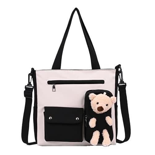 Borsa a tracolla per la scuola con orsacchiotto, borsa a tracolla in peluche carino Kawaii Fluffy borsa frizione Messenger tela zaino ragazza, nero, Large
