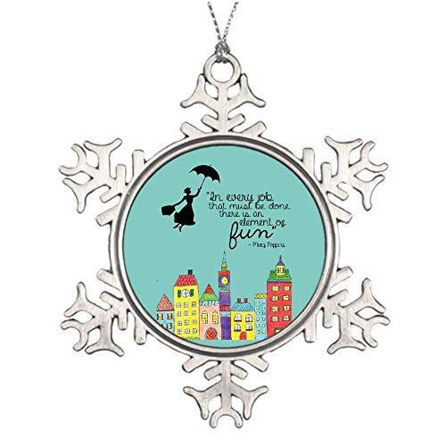 Mesllings Mary Poppins - Figura Decorativa de Copo de Nieve de Metal, diseño navideño