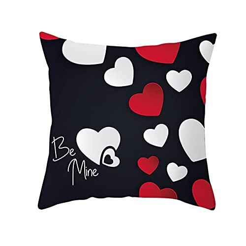 Beydodo Cojines Baratos,Be Mine Corazón,Funda Cojin 50x50 Nordico Cojines Cama Decorativos Blanco Negro Rojo