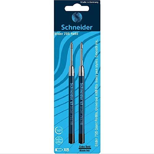 Schneider Slider 755 XB Ballpoint Pen Refill, Black, Pack of 2 (175691)
