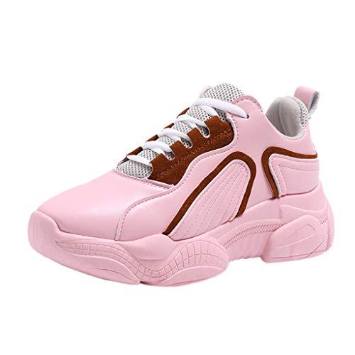 MRULIC Damen Sneaker Flache Schuhe Schnürsenkel Dicke Runde Zehe Komfortable Frühling und Sommer Sportschuhe Laufschuhe Leichte Outdoor Wanderschuhe(Rosa,40 EU)