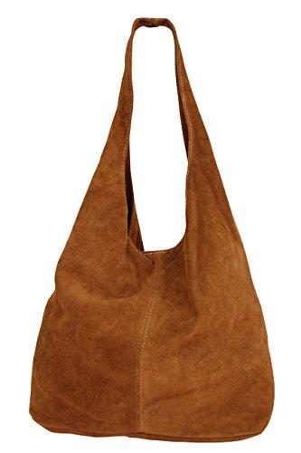 AMBRA Moda Damen Ledertasche Shopper Wildleder Handtasche Schultertasche Beuteltasche WL818, Cognacbraun, XL