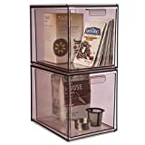 STORi Mod Stackable Pantry Storage Drawers 6-3/4' Tall | set of 2 | Mocha Mist