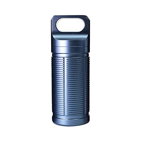 Caja de accesorios para exteriores de grado militar hermético, soporte de batería para botella de píldora, resistente al agua, caja de metal, tamaño mediano con bolsillo de transporte (azul)