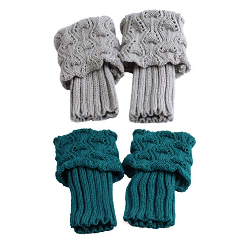 BESPORTBLE 2pairs Knöchelwärmer Handgelenk wärmt Stiefel Manschetten Umsatz gestrickte Winter Beinlinge Stiefel Fußkettchen Socken für Frauen Mädchen