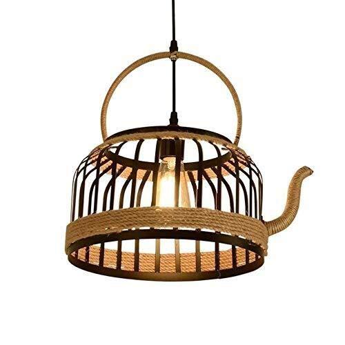 DE Kronleuchter Teekanne Kronleuchter Industrie Dekorative Hanfseil hängendes Licht Bauernhof Licht Leuchte Esszimmer Light Industrial Light Fixtures