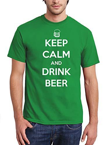 clothinx Herren T-Shirt Oktoberfest Keep Calm and Drink Bier Grün Gr. L