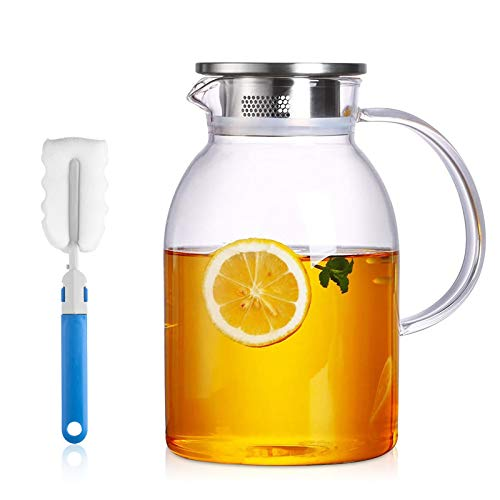75 Ounces Large Heat Resistant Glass Beverage Pitcher with Stainless Steel Lid, Borosilicate Water...