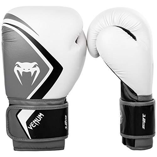 Venum Contender 2.0 Boxhandschuhe, Weiß/Grau-Schwarz, 12 Oz