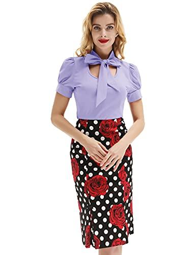 Plus Size Women's Vintage Tie Bow Neck Elegant U Collared Blouse Tops,Light Purple,2XL