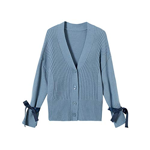 HECHEN Damen Wollstrickjacke, Frühjahr Frühling losen eleganten kurzen Pullover abnehmbare gewebte Bandbreite lose Knoten Strickjacke Pullover,Blue,XL