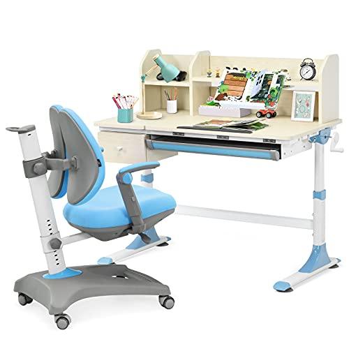 Costzon Kids Desk and Chair Set, Height Adjustable Study Desk w/Drawer, Tilted Desktop, Book Stand, Pull-Out Drawer, Ergonomic Student Chair w/Sit-Brake Casters, Footrest & Flip-up Armrests (Blue)