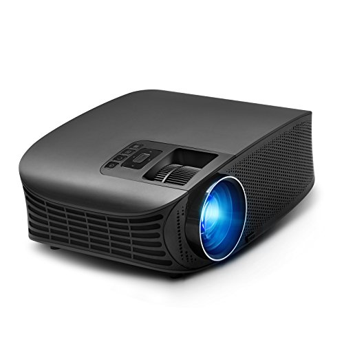 """Video Projector, RocketPro Projector 30,000 Hour, 200"""" LCD 1080P Full-HD Portable Projector Compatible with HDMI VGA AV USB MicroSD Audio Out 3.5mm for All Entertainment, Home Theater, Party, Games"""