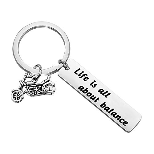 Biker Gift Ride Safe Keychain Motorcycle Lover Gift Life Is All About Balance Motocycle Keychain Gift for Biker (life balance kc)