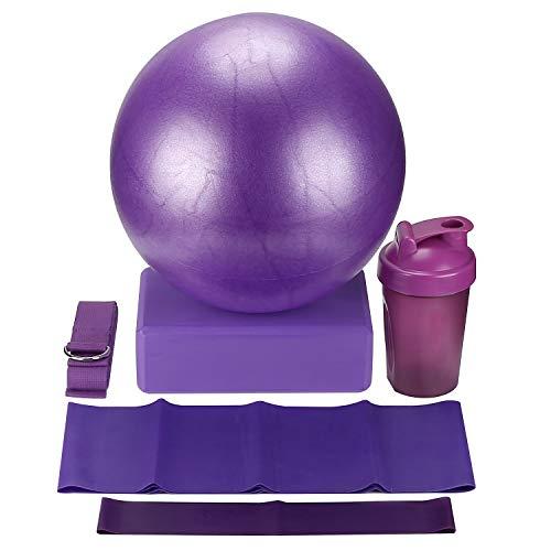 KS Fitness 6 Pieces Yoga Exercise Set, Yoga Block, Yoga Strap, Resistance Loop Band, Flat Resistance Stretching Band, Core Training Exercise Mini Yoga Ball, Shake Drinking Bottle from KS Fitness