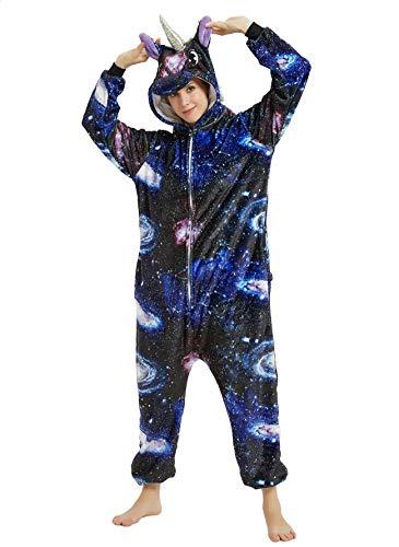 BESUURAN Relaxo Kostüm Einhorn Onesie Jumpsuit Tier Relax Kostuem Pyjama Weihnachten Halloween Schlafanzug Cosplay Erwachsene Karneval YZ XL
