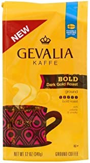 Gevalia Kaffe, Ground Coffee, Bold Dark Gold Roast, 12oz Bag (Pack of 2)