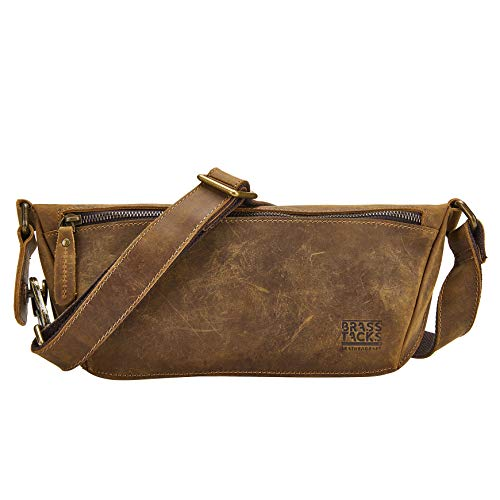 BRASS TACKS Leathercraft Men's Genuine Leather Waist Packs Fanny Pack with Card Slots Water Resistant Waist Bag(Brown)