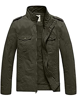 WenVen Men s Military Casual Cotton Jacket Outwear  Army Green Medium