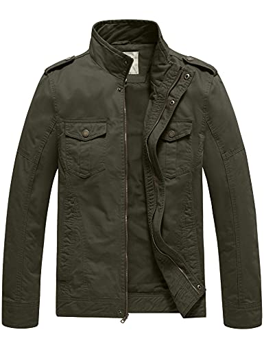 WenVen Men's Military Casual Cotton Jacket Outwear (Army Green, Medium)