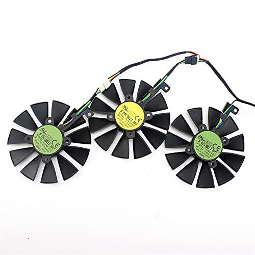 87mm T129215SU DC 12V 0.50AMP T129215SM 4PIN Fan DE ENFRIENCIA DE Alambre 4 para ASUS GTX980TI R9 390X 390 GTX1070 GTX1060 Fans de la Tarjeta gráfica (Blade Color : Eve 3PCS)