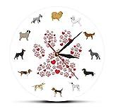 Perros imprimibles Arte de pared Reloj de pared moderno Raza
