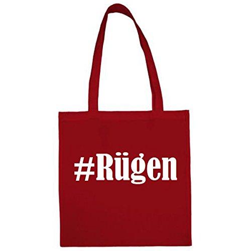 Tasche #Rügen Größe 38x42 Farbe Rot Druck Weiss