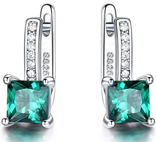 XIRENZHANG Pendientes para mujer de plata de ley 925 con topacio azul y piedras preciosas, pendientes de alta gama