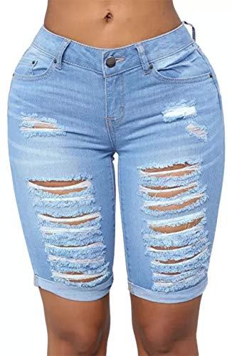 roswear Women's Distressed Ripped Mid Length Rolled Hem Shorts Jeans Blue XXL