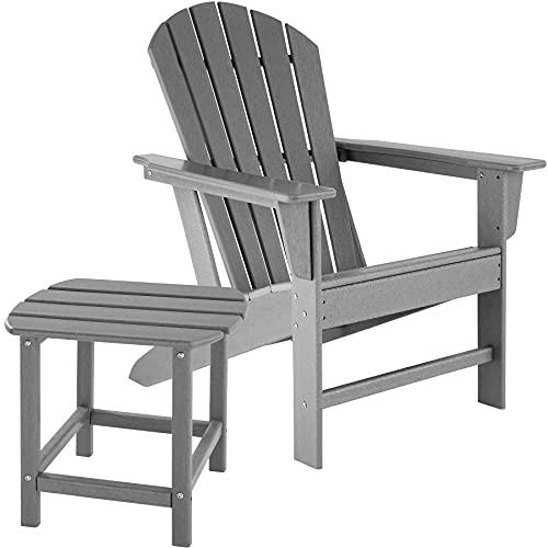 tectake 800908 Adirondack Gartenstuhl mit Beistelltisch, Holzoptik, Gartensessel mit Breiten Armlehnen und Tisch, für Garten, Terrasse und Balkon, wetterfest (Grau)