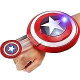 PRETAY Lanzador De Brazo con Escudo del Capitán América, Frisbee De Muñeca, Pistola De Juguete Educativo para Niños, Pistola De Dardos con Sonido Luminoso