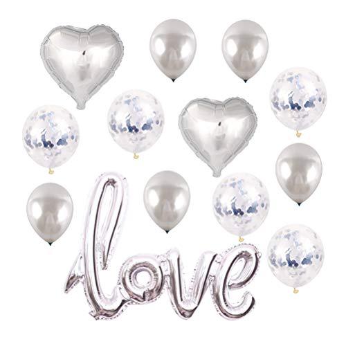 STOBOK 13 Stück 40 Zoll Silber Love Luftballons Folienballon Herz Ballon Konfetti Latexballon für Geburtstag, Hochzeit, Baby Shower, Party Dekoration, Valentinstag