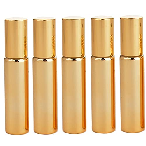 Botellas de rodillos de aceite esenciales 10 ml de acero dorado con rollerball de la Navidad inoxidable para el cuerpo 10pcs