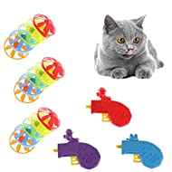 TIANTIAN 18 Pieces Flying Cat Fetch Toy Cat Tracking Toy Cat Fun Levels of Interactive Play-Cat Toys...