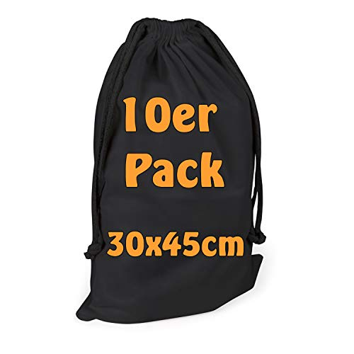 Cottonbagjoe Bomullspåse tygpåse | med dragsko | 30 x 45 cm | 10 stycken, svart | nollvåg | grönsaksväska lunchväska kosmetikväska strumpväska leksaksväska gymväska underklädespåse