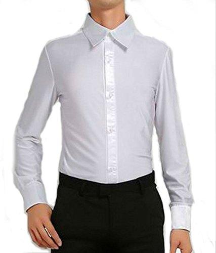 【Micopuella】 社交ダンス メンズ シャツ 長袖 光沢 ストレッチ ダンス ウエア 衣装 男性用 (白XL)