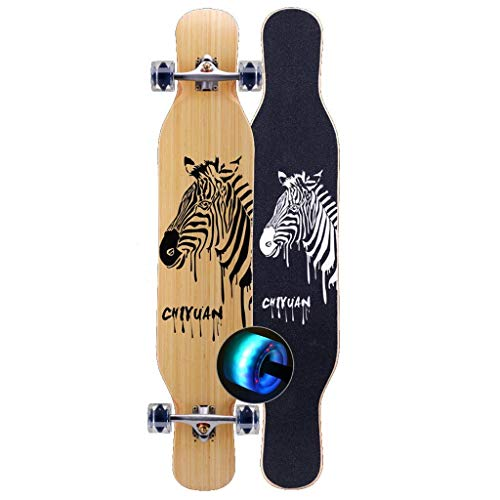 Great Deal! ZAIHW Dancing Bamboo Longboards Skateboard Pro Speed Complete Drop Down Through Deck - C...