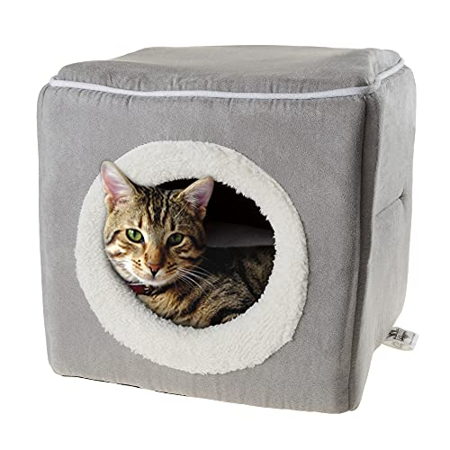 Cat Pet Bed, Cave- Soft Indoor Enclosed Covered Cavern/House for Cats, Kittens, and Small Pets with Removable Cushion Pad by PETMAKER (Grey)