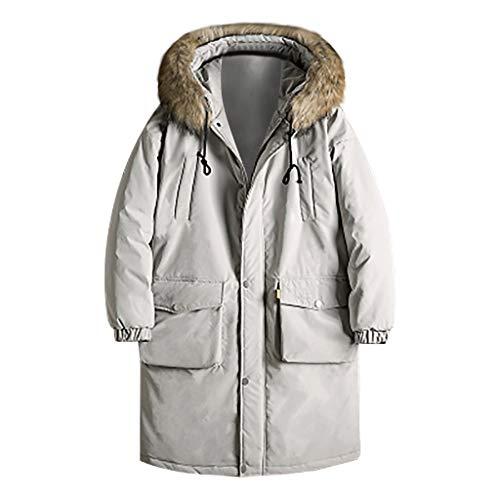 Qinhanjia Herren warme Winter Daunenjacke Parka Puffer Windbreaker Mantel mit Kapuze Faux Fur Oberbekleidung (Grau, XL)