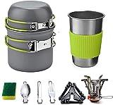 queta set di stoviglie da campeggio, pentole per picnic stoviglie da campeggio per stoviglie da campeggio per escursioni all'aperto e picnic