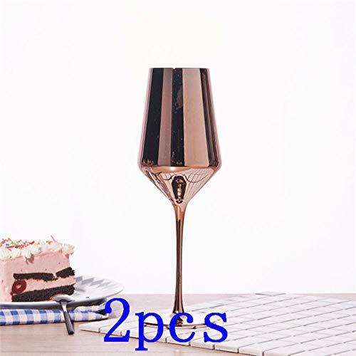 Ltong Rose Golden Crystal Goblets Wijnglas Sap Drink Champagne Goblet Party Barware Diner Water Home Decor Chic Luxe, 2 stuks, 420ML