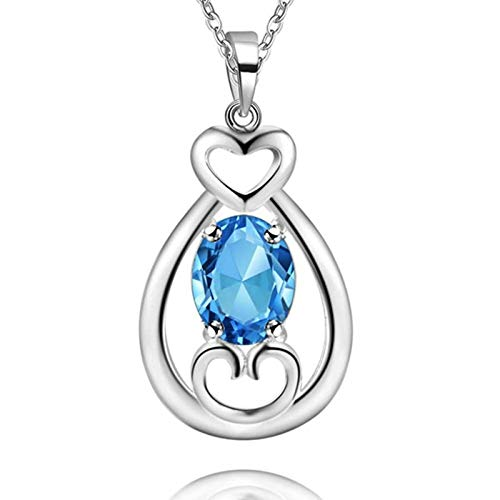 Beydodo Colgantes Mujer Chapados en Oro Blanco,Colgante Mujer Azul Claro Gota de Agua con Corazón Circonita Azul Claro